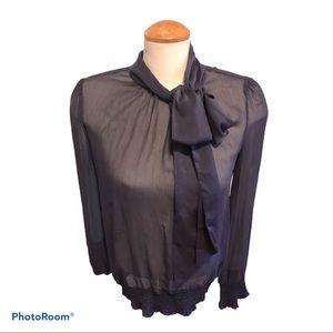 🔥Sisley Sheer Dk Plum Blouse with Satin Tie